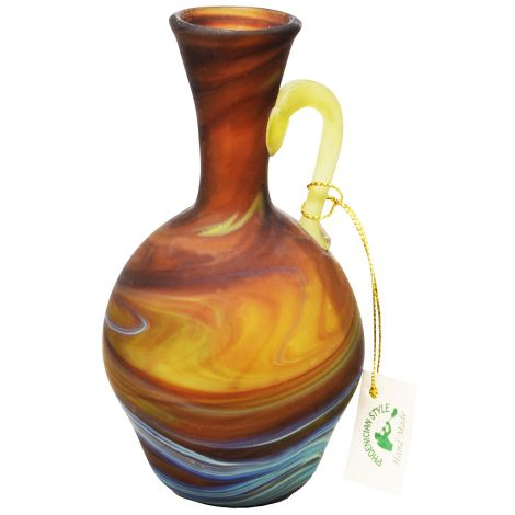 """Phoenician Glass Vinegar Jug with Handle - Made in the Holy Land - Browns 6"""""""
