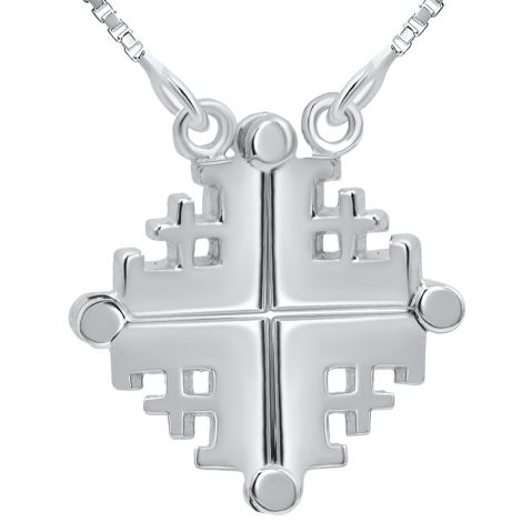 Opening Plain 'Jerusalem Cross' 925 Silver Necklace