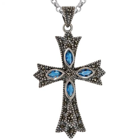 Pointed Cross Necklace - Sterling Silver and Marcasite with Blue Crystal