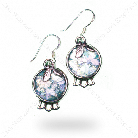 'Pomegranate' Earrings in Silver with 2000 Year Old Roman Glass