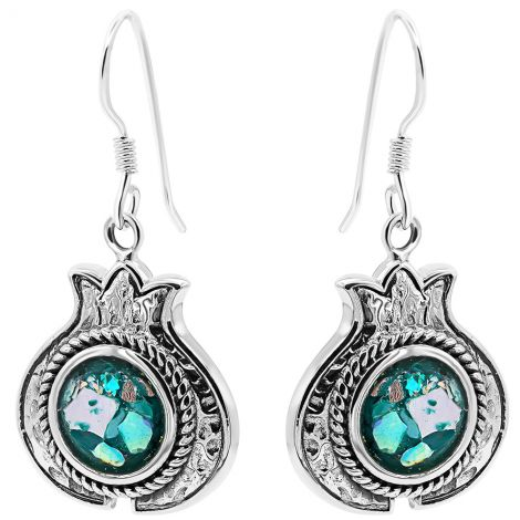 Silver 'Pomegranate' with Roman Glass Earrings - Made in Israel