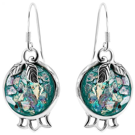 Roman Glass 'Pomegranate with Leaf' 925 Silver Earrings - Made in Israel