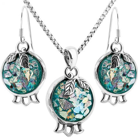 Roman Glass 'Pomegranate with Leaf' Jewelry Set - 925 Silver