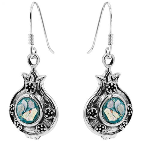 Pomegranate with Seeds' Roman Glass and Sterling Silver Earrings - Made in Israel