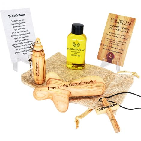 Maranatha Anointing Oil™ 'Psalm 122:6' Comfort Cross 'HOLINESS' Set