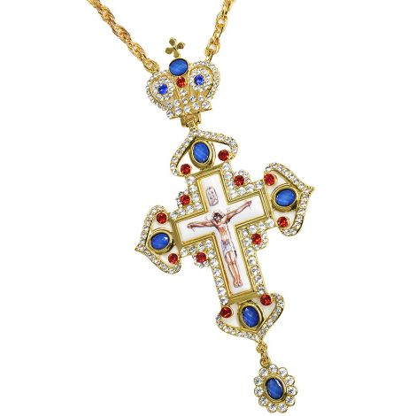 Large Orthodox Priest Pectoral Cross with Chain - Gold Plated