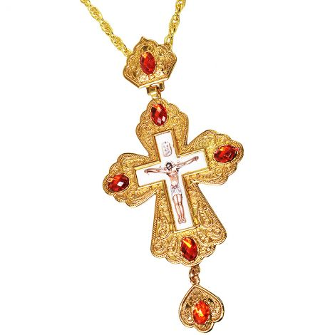 Orthodox Priest Pectoral Cross Gold Plated Jeweled Necklace - Enameled