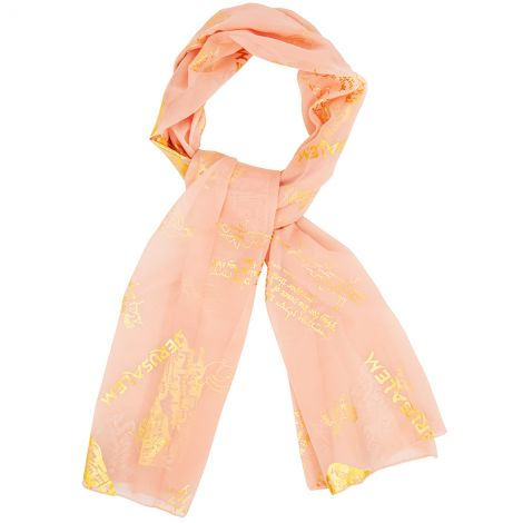 Pray for the Peace of Jerusalem' - Hebrew Prayer Scarf - Ladies Pink