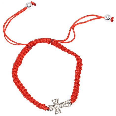 Knights Templar Cross' with Zircon on Red Cotton Bracelet from Jerusalem