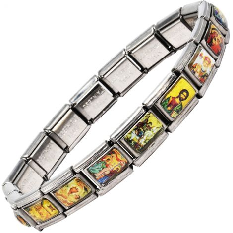 Religious Icons' Stainless Steel Bracelet from the Holy Land