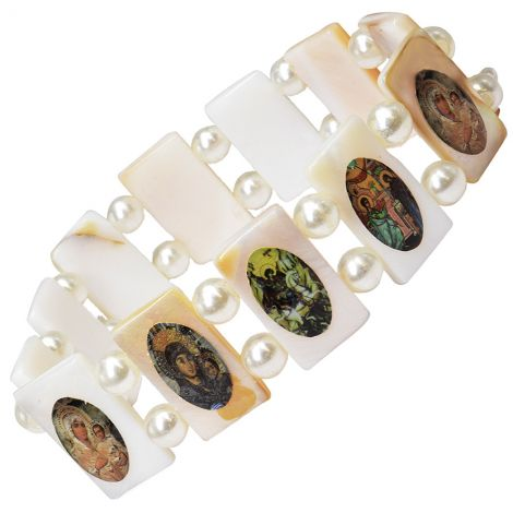 Religious Icons' Mother of Pearl Bracelet from the Holy Land