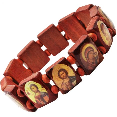 Religious Icons' Wooden Bracelet from the Holy Land