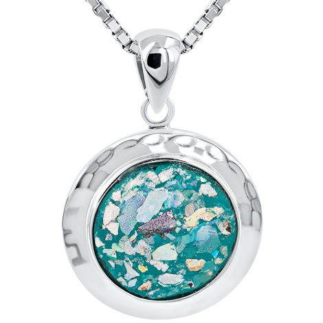 Roman Glass Round Pendant from Jerusalem - 925 Silver from Israel