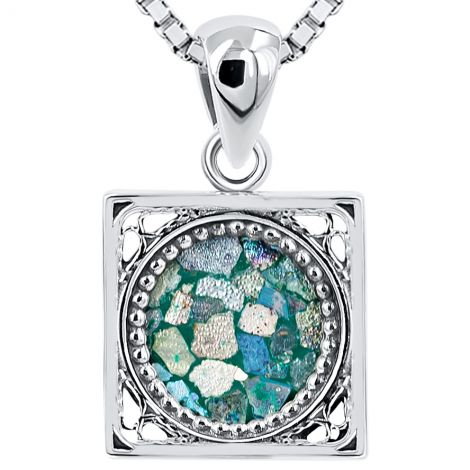 Roman Glass Square Pendant from Israel - Ornate 925 Silver