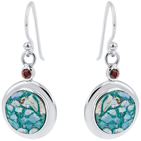 Roman Glass Circular Earrings from Israel with Red Crystal - 925 Silver