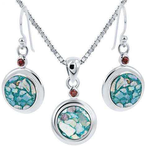 Roman Glass Circular Pendant and Earring Set - Red Crystal - 925 Silver