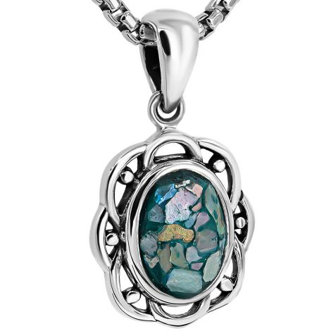 Classic Elegance - 2000 year old Roman Glass in an Ornate Silver Pendant