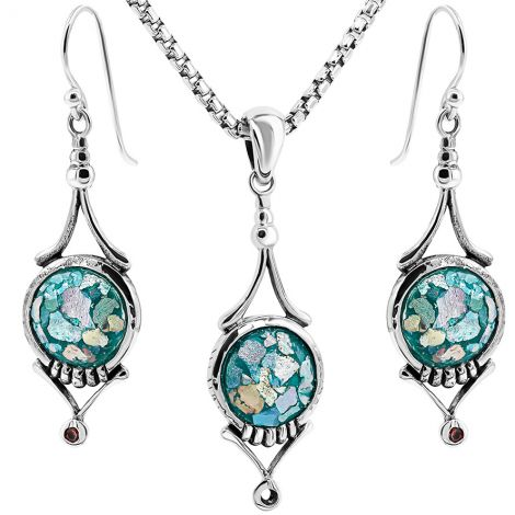 Authentic Roman Glass - Classical Jewelry Set - Sterling Silver