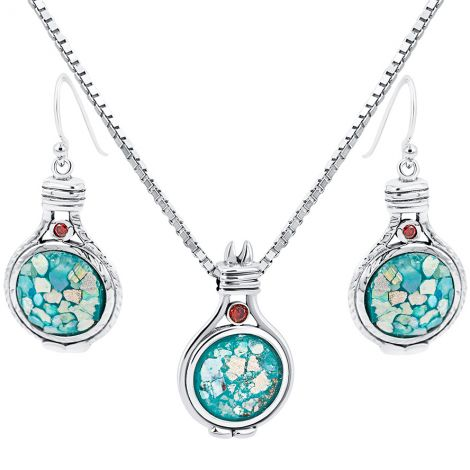 Roman Glass 'Covenant' Pendant and Earring Set from Israel - 925 Silver