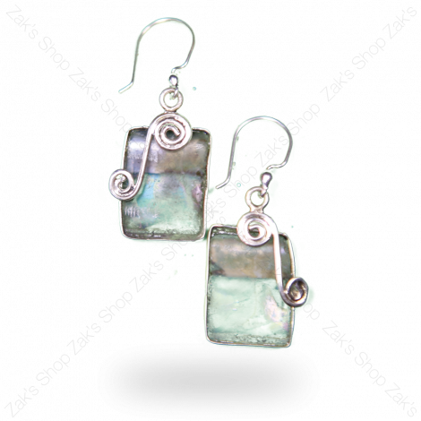 Roman Glass Ornate Silver Earrings - Made in Israel