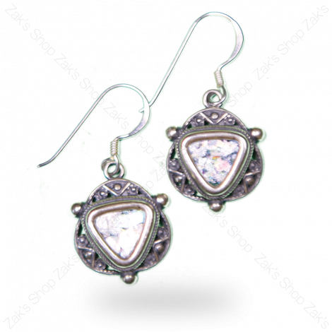 Roman Glass 'Triangle' Design Silver Earrings - Made in Israel