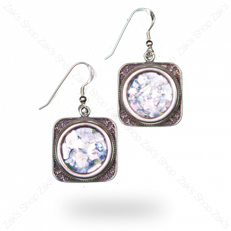 Roman Glass Squared 925 Silver Earrings - Made in Israel