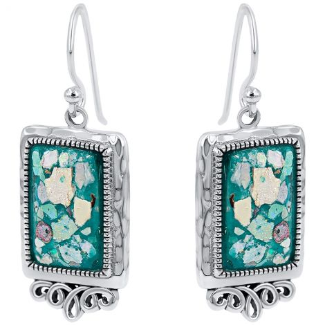 Silver 'Roman Glass' Rectangle Decorated Earrings