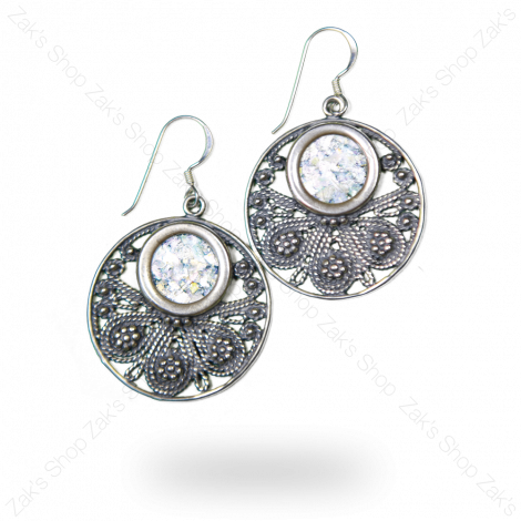 Roman Glass' Circular Decorated Earrings Silver