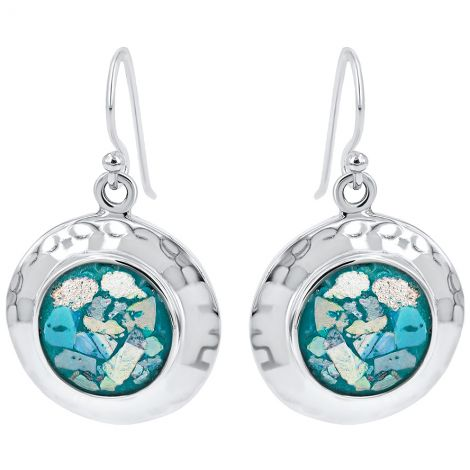 Roman Glass Round Earrings from Jerusalem - 925 Hammered Silver