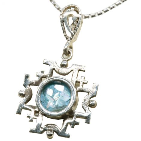 Silver Pendant of the 'Jerusalem Cross' with Authentic Roman Glass