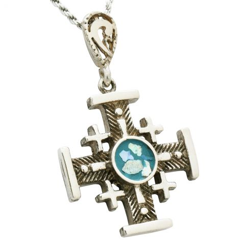 Roman Glass 'Jerusalem Cross' Fish-bone Oxidized Design Silver Pendant