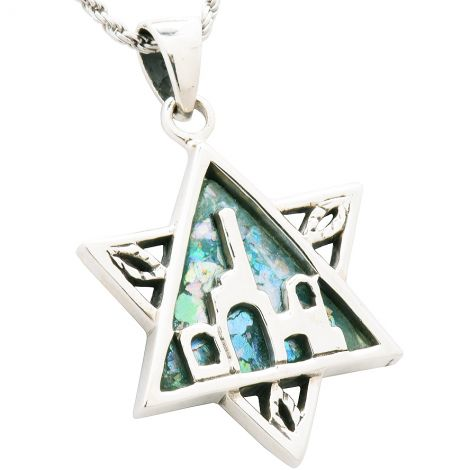 Roman Glass 'Jerusalem' Star of David Silver Pendant from Israel