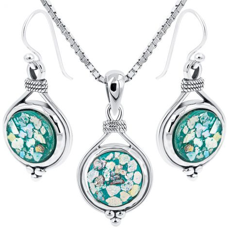 Roman Glass 'Held Tight' Pendant and Earring Set - 925 Silver