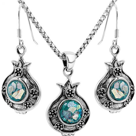 Pomegranate with Seeds' Roman Glass and Silver Jewelry Set