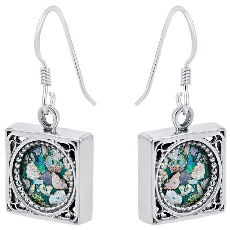 Roman Glass Square Sterling Silver Earrings - Made in Israel