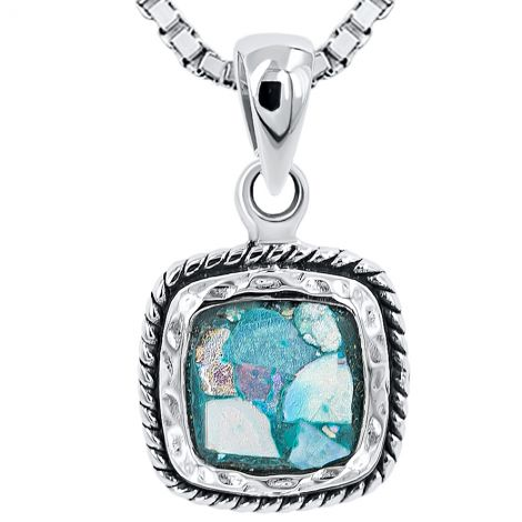 Roman Glass Square Rope Sterling Silver Pendant - Made in Israel