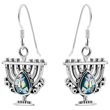 Roman Glass 'Tear Menorah' Sterling Silver Earrings from Israel