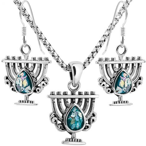 Roman Glass 'Tear Menorah' Sterling Silver Necklace and Earrings Set