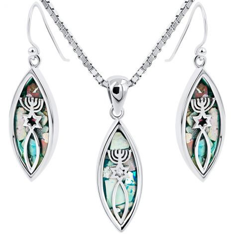 Roman Glass Messianic 'Grafted In' Pendant and Earrings Set