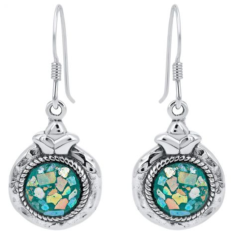Roman Glass 'Pomegranate' Earrings from Israel - 925 Hammered Silver