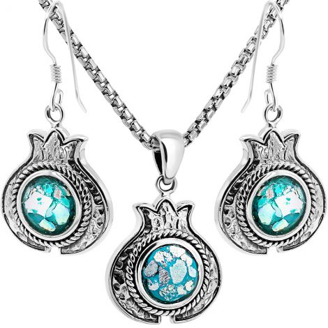 Sterling Silver 'Pomegranate' Jewelry Set with Genuine Roman Glass
