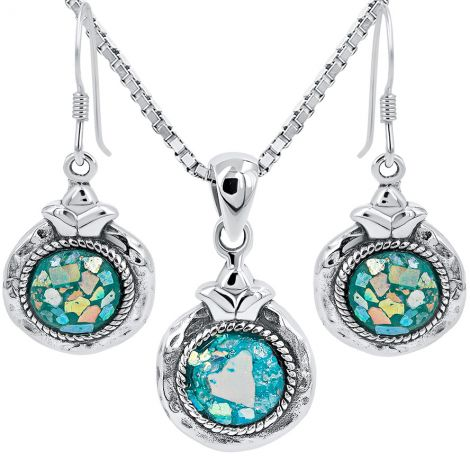 Roman Glass 'Pomegranate' Pendant and Earring Set - 925 Hammered Silver