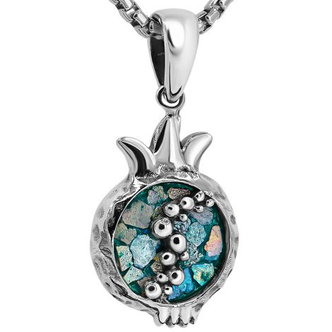 Roman Glass 'Pomegranate' with Seeds Sterling Silver Necklace - Made in Israel
