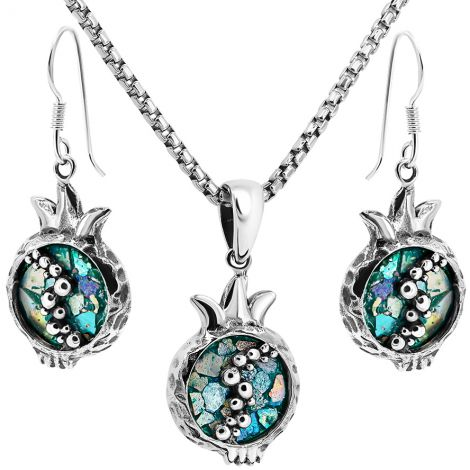 Roman Glass 'Pomegranate' with Seeds Jewelry Set from Israel