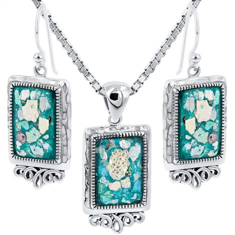 Roman Glass 'Rectangle' Pendant and Earrings from Israel - 925 Silver