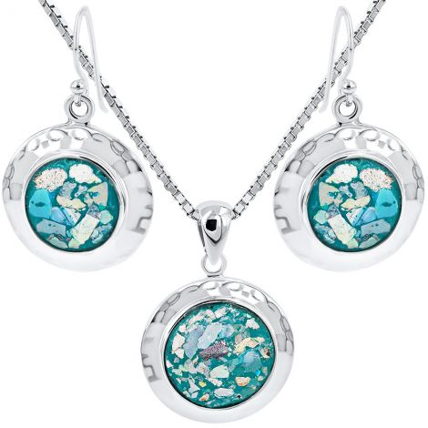 Roman Glass Round Hammered Silver Pendant and Earring Set