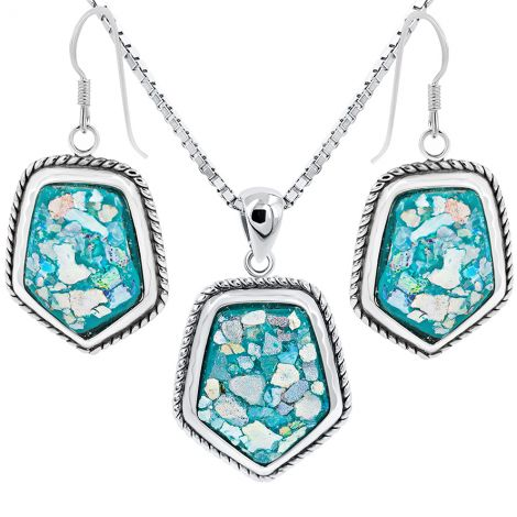 Roman Glass 'Shield' Pendant and Earring Set - 925 Silver - Made in Israel