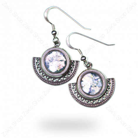 Classic 'Roman Glass' Decorated Silver Earrings From Jerusalem