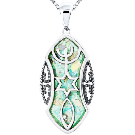 Roman Glass 'Grafted In' Messianic Necklace - Eclipse