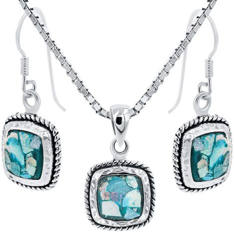 Roman Glass Square Rope Sterling Silver Pendant and Earring Set